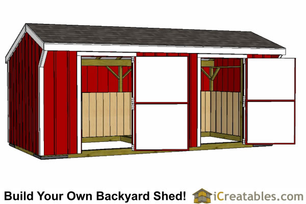 2 stall horse barn plans 2 horse barn plans for Horse stall door plans