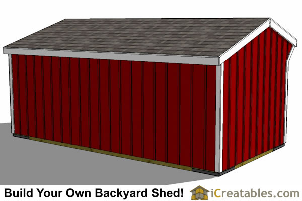 10x20 2 stall horse barn rear view