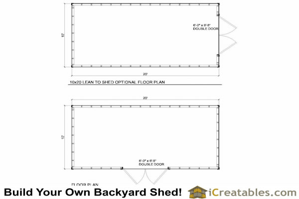 10x20 lean to shed floor plans