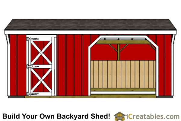 10x20 Run in shed front view straight on