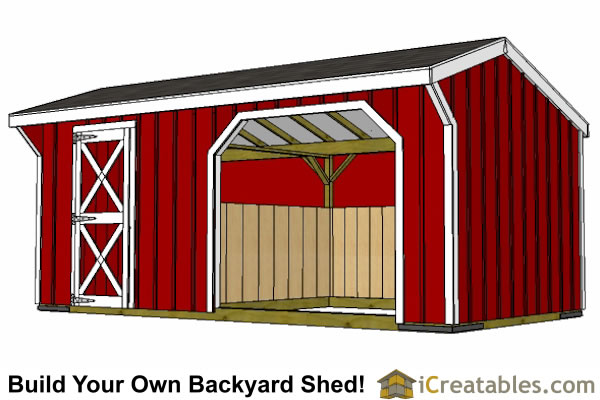 10x20 Run In Shed With Tack Room Plans