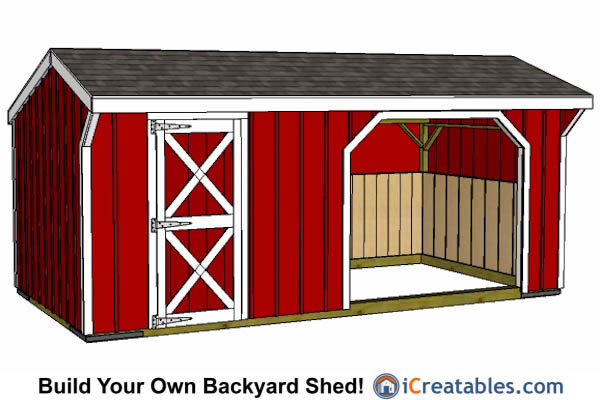 10x20 Run in shed with tack room