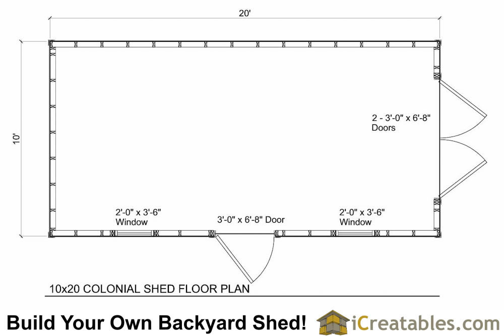 10x24  Shed Floor Plans
