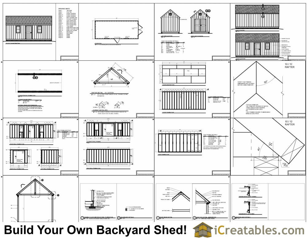 10x24 colonial garden shed plans for Free shed design software with materials list