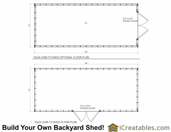10x24  Lean to shed plans floor plan