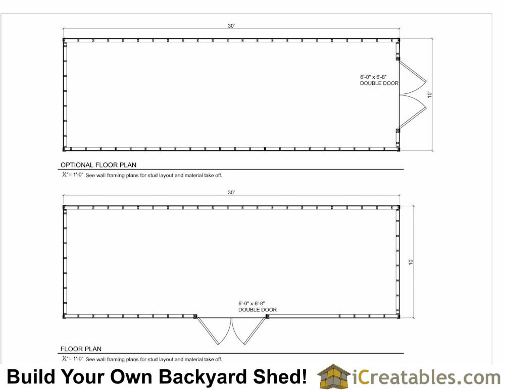 10x30 lean to shed floor plans