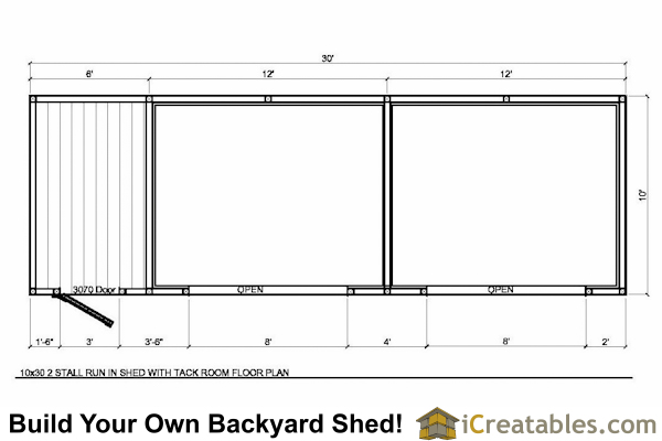 10x30 run in shed with tack room plans for Shed floor plans design