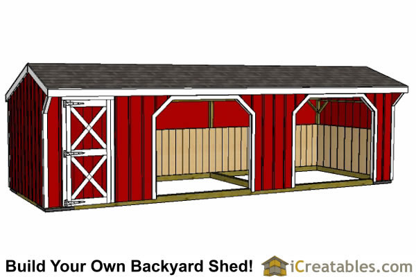 10x30 Run in shed front view straight on