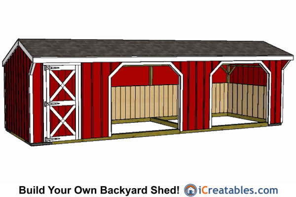 10x30 Run In Shed With Tack Room