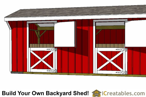 10X40 4 stall horse barn plans close up