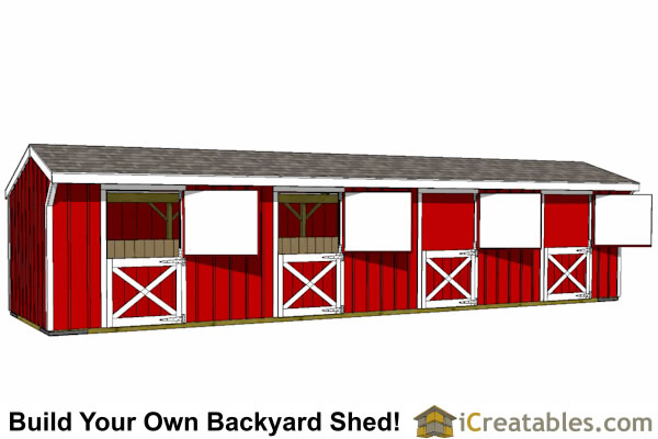 4 stall horse barn plans 10x10