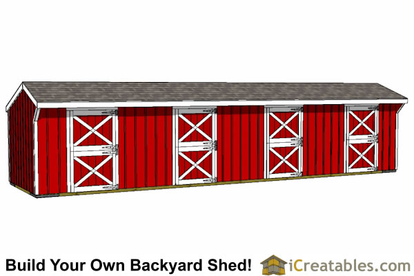 10X40 4 stall horse barn plans with doors open