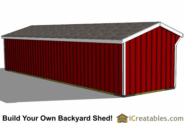 10x40 4 stall horse barn rear view
