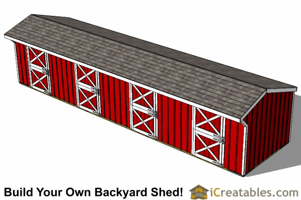 10x40 4 stall horse barn top view