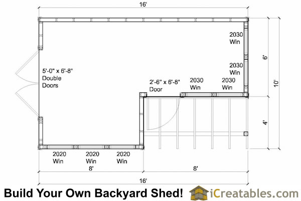 10x8 6x8 Garden Shed Plans Floor Plan