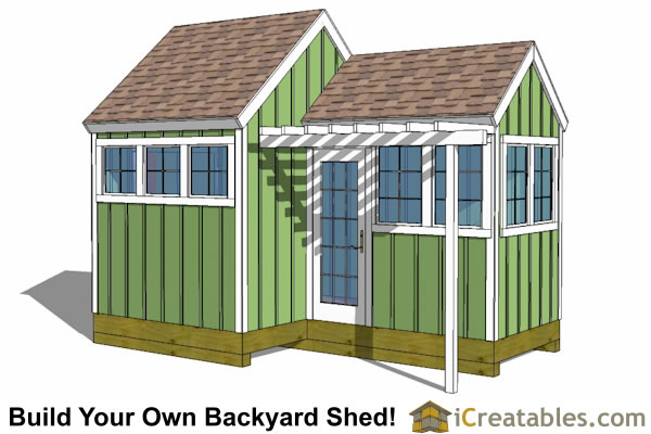 10x8-6x8 garden shed greenhouse plans
