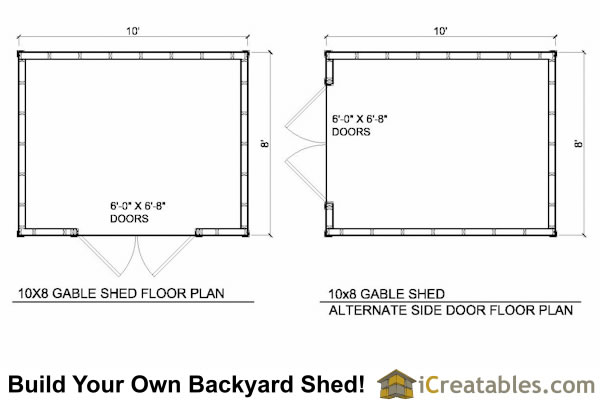 10x8 Shed Plans 10 wide by 8 deep shed plans