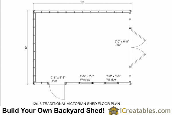 12x16 Traditional Victorian Style Storage Shed Floor Plan