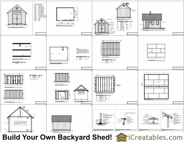 12x16 Traditional Victorian Style Storage Shed Plans