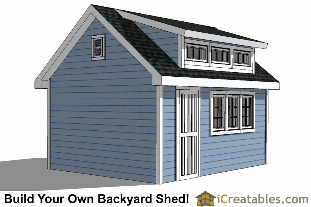12x16 Shed Plans With Dormer | iCreatables.com