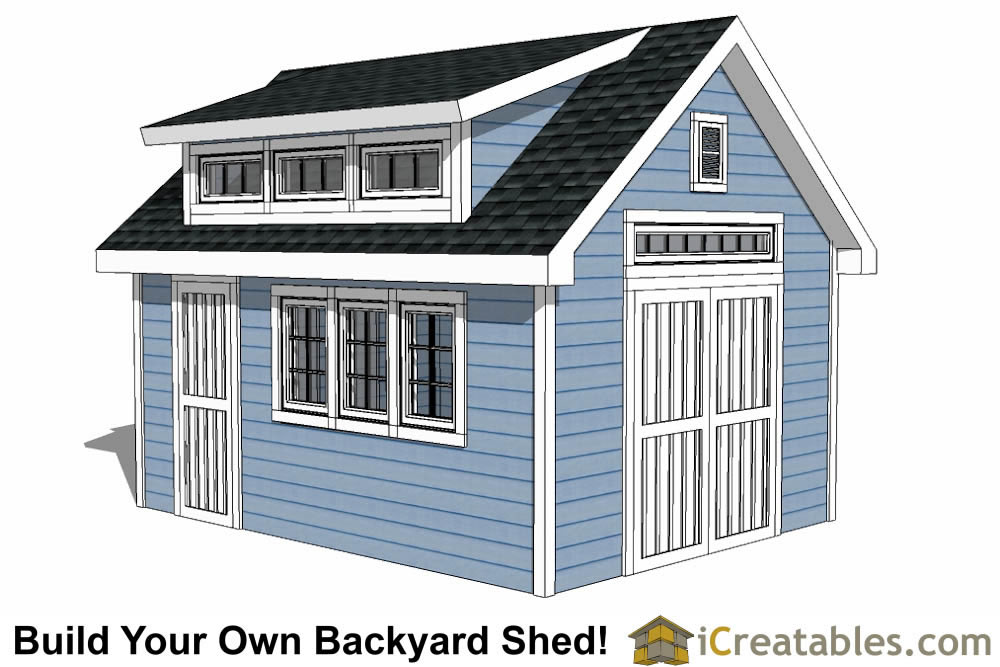 12x16 shed plans with dormer for Barn roof plans