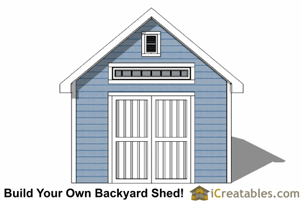 12x16 Traditional Victorian Style Storage Shed elevation
