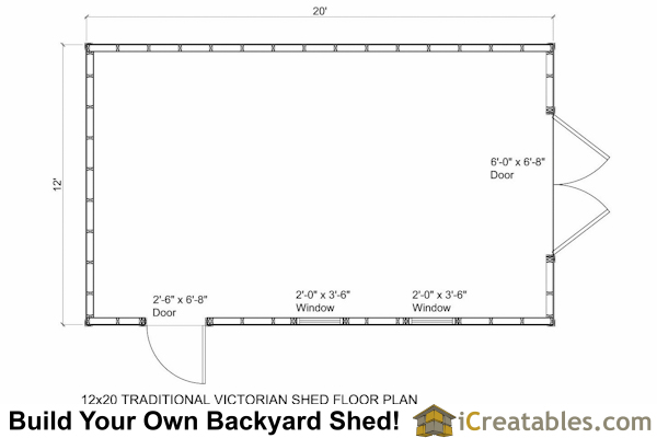 12x20 Traditional Victorian Style Storage Shed Floor Plan