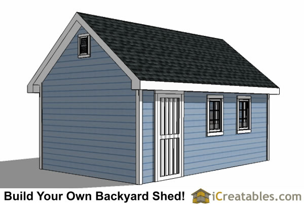 12x16 Traditional Victorian Style backyard storage shed right