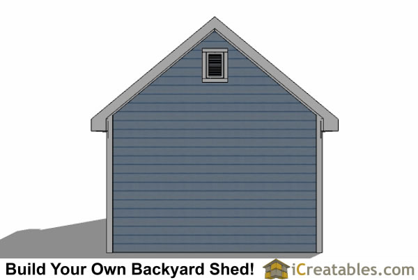 12x20 Traditional Victorian Style Storage Shed Plans rear elevation