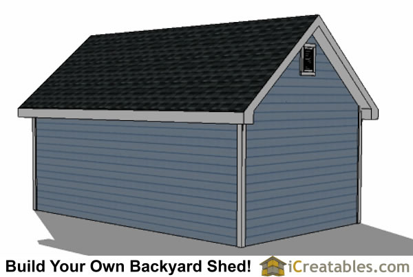 12x16 Traditional Victorian Style Storage Shed Plans right rear