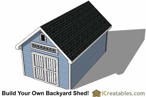 12x20 Traditional Victorian Style Storage Shed Plans top view