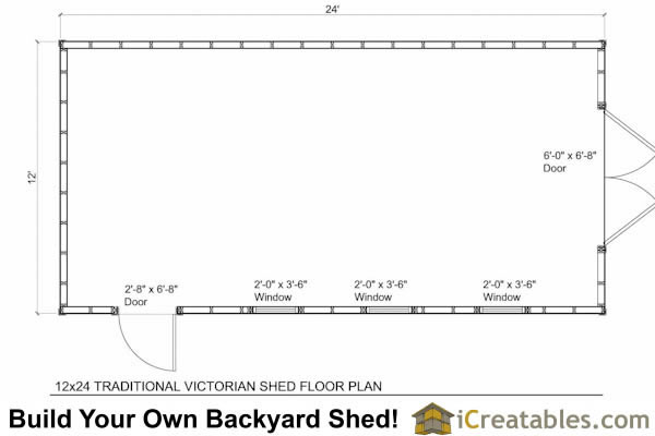 12x4 Traditional Victorian Style Storage Shed Floor Plan