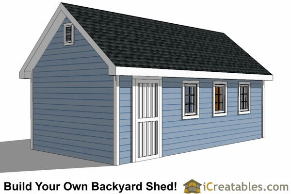 12x24 Traditional Victorian Style backyard storage shed right