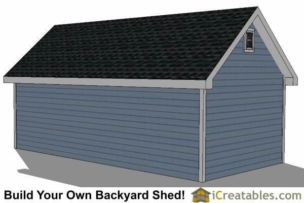 12x24 Traditional Victorian Style Storage Shed Plans right rear
