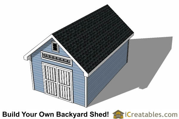 12x24 Traditional Victorian Style Storage Shed Plans top view