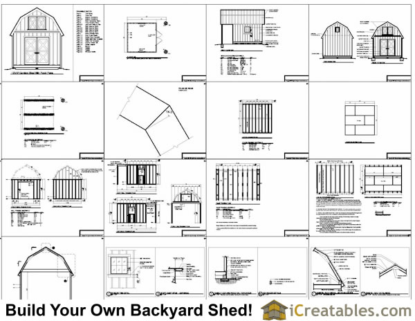 12x10 Gambrel Shed Plans 12x10 Barn Shed Plans