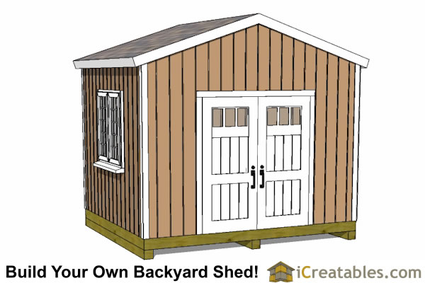12x10 backyard storage shed plans door on gable end