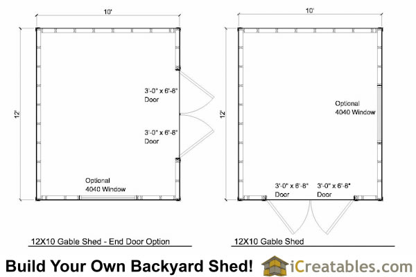 12x10 Tall Storage Shed Floor Plan