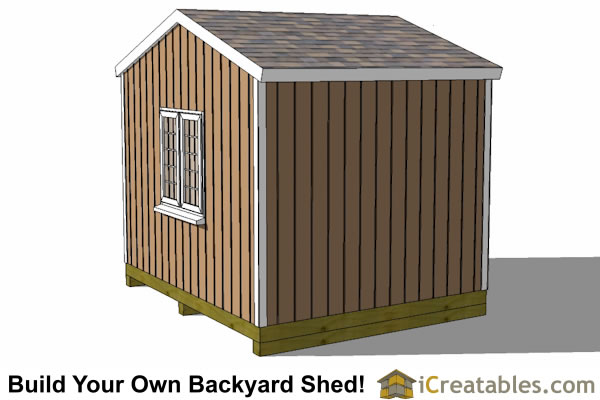 12x10 backyard storage shed plans rear view