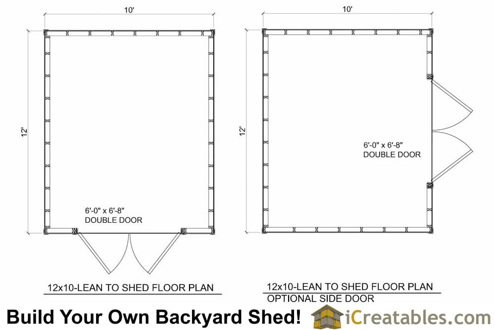 12x12 Lean to shed plans floor plan