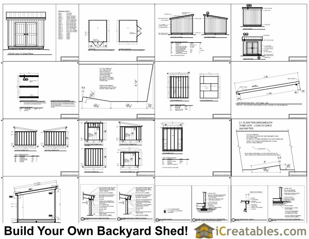 12x10 Lean to shed plans