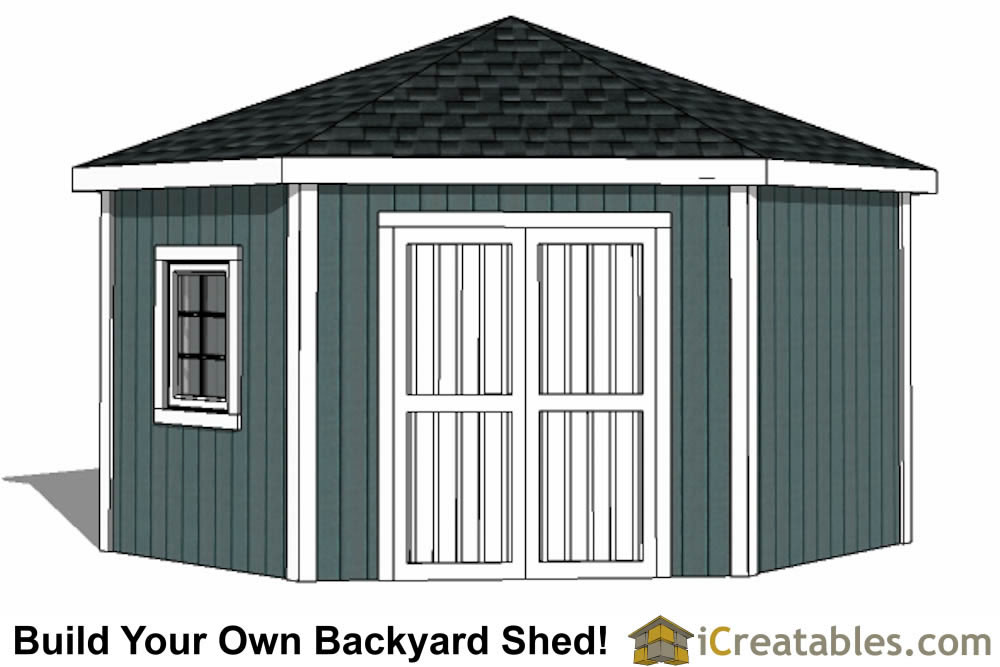5 sided backyard  storage shed plans