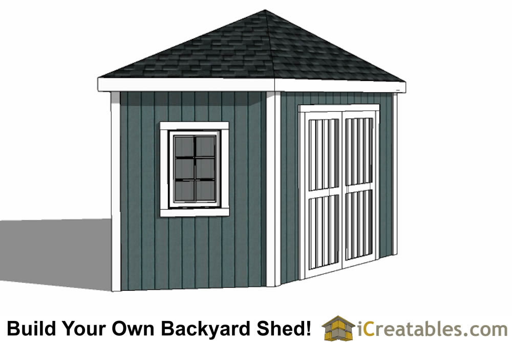12x12 5 sided corner shed plans for Garden shed 12x12