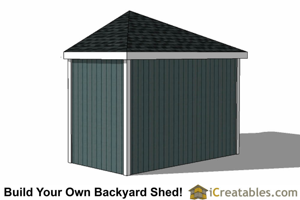 12x12 storage shed end