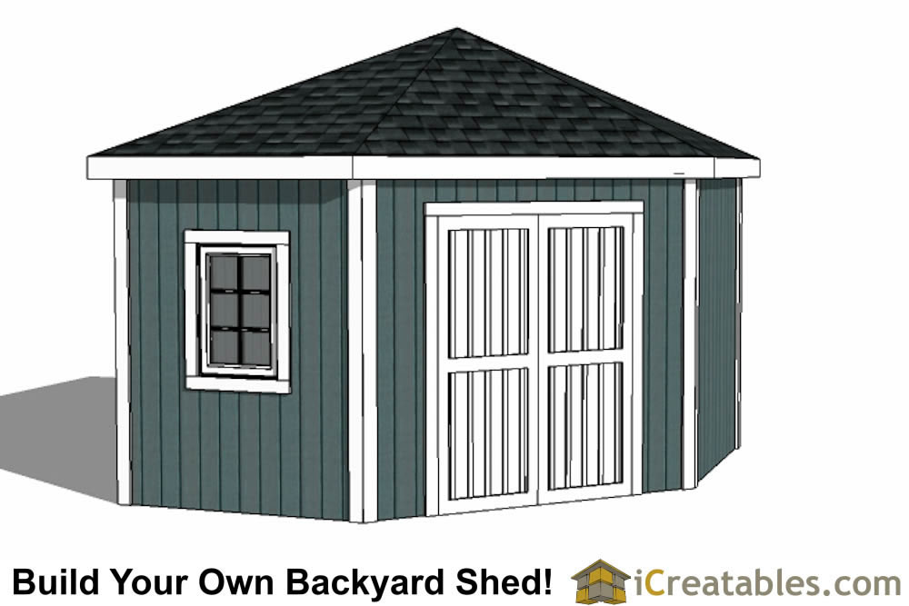 12x12 5 sided corner storage shed plans