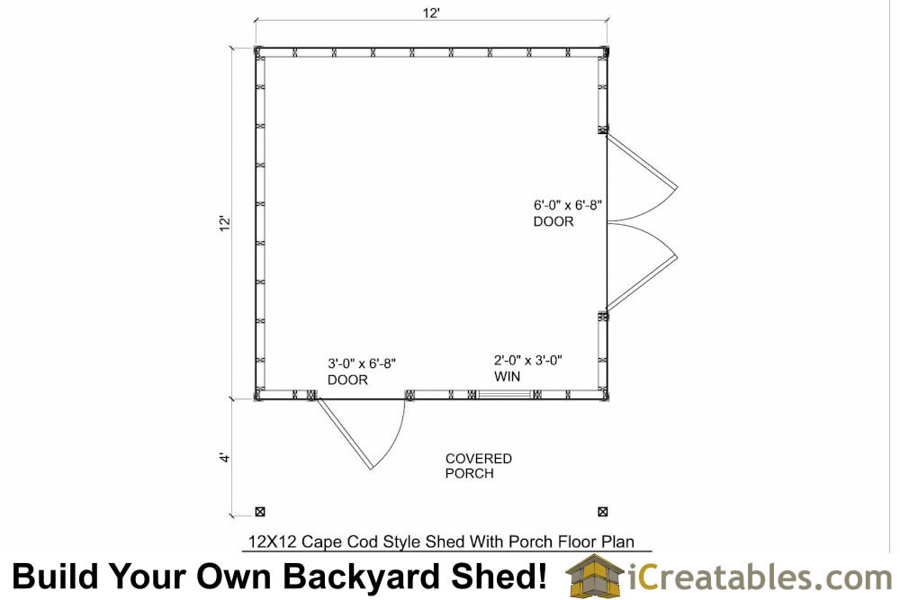 12x16 cape cod shed with porch plans icreatables for Simple cape cod floor plans