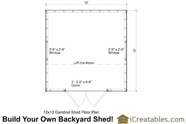 12x12 Gambrel shed floor plans