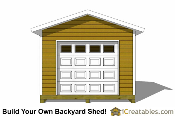 12x12 shed design with with garage door
