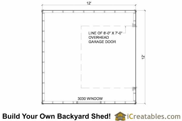12x12 shed floor plans with garage door