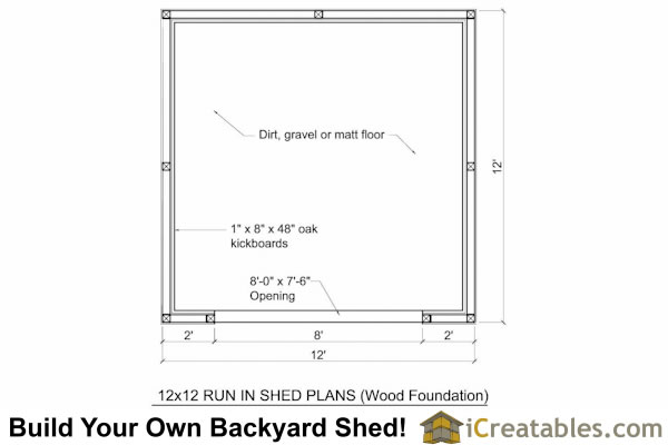 12x12 run in shed floor plan